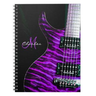 Caderno roxo personalizado da música da guitarra
