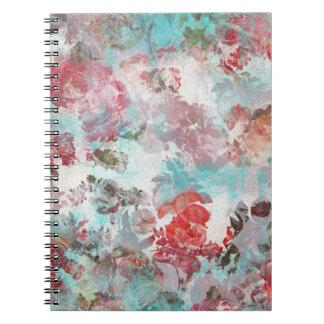 Caderno Teste padrão floral cor-de-rosa chique romântico