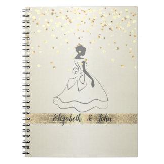 Cadernos Elegante, confetes, laço, planejador nupcial do