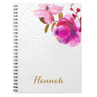 Cadernos Espirais A aguarela bonito floral e os pontos adicionam o