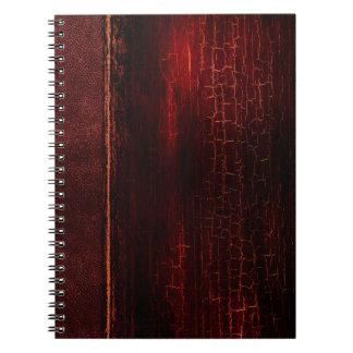Cadernos Espirais Couro antigo antigo rústico do vermelho do falso