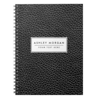 Cadernos Espirais Couro preto do falso