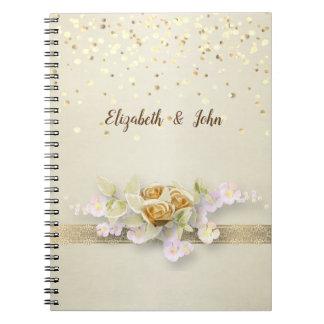 Cadernos Espirais Elegante, confetes, laço, floresce o planejador do