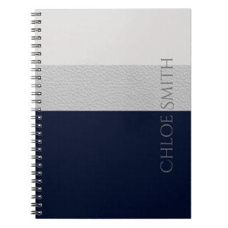 Cadernos Espirais Marinho geométrico e listras de couro do falso