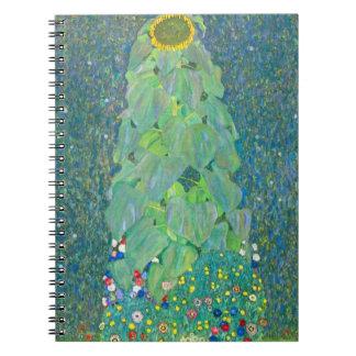 Cadernos Espirais O girassol por Klimt, vintage floresce a arte