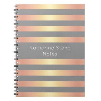 Cadernos Espirais O inclinação cor-de-rosa moderno elegante do ouro