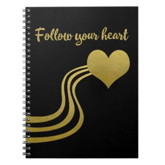 Cadernos Espirais O ouro do falso no preto segue seu coração