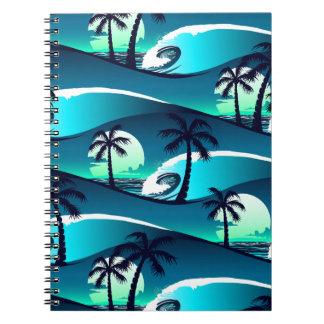 Cadernos Espirais Ondas e palmeiras