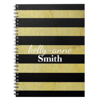 Cadernos Espirais Ouro preto kraft glamoroso listrado