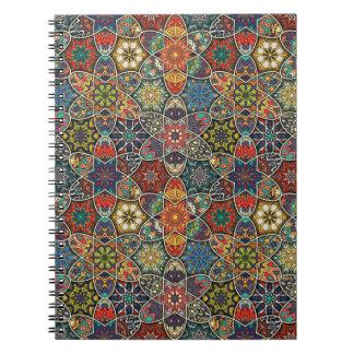 Cadernos Espirais Retalhos do vintage com elementos florais da