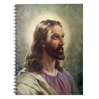 Cadernos Espirais Retrato religioso do vintage, Jesus Cristo com