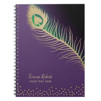 Cadernos Espirais Roxo elegante da pena de pássaro do pavão do ouro