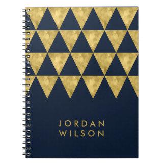 Cadernos Espirais Teste padrão azul escuro elegante do triângulo do
