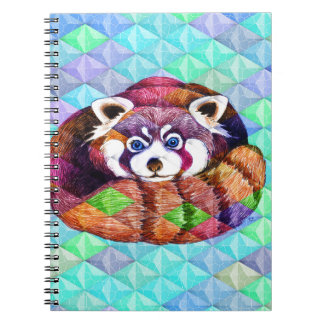 Cadernos Espirais Urso de panda vermelha no cubism de turquesa