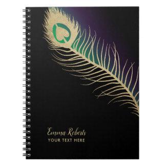 Cadernos Espirais Verde & roxo do preto da pena de pássaro do pavão
