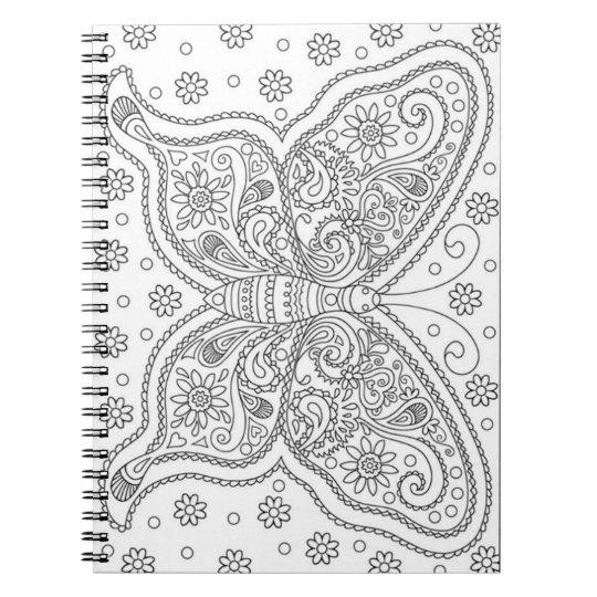 Cadernos Espiral A borboleta fá-lo você mesmo página da coloração
