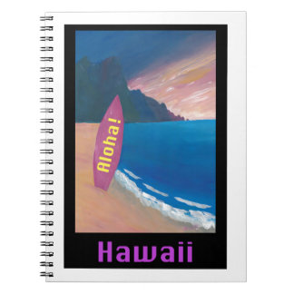 Cadernos Espiral Aloha poster retro do surfista de Havaí