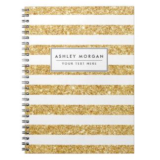Cadernos Espiral Brilho elegante do ouro do falso e teste padrão