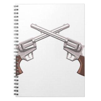 Cadernos Espiral Desenho do revólver da pistola isolado em