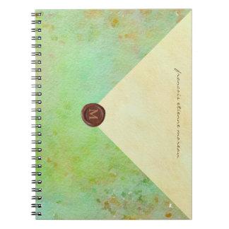 Cadernos Espiral envelope do falso na aguarela do seafoam com selo