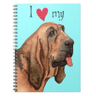 Cadernos Espiral Eu amo meu Bloodhound