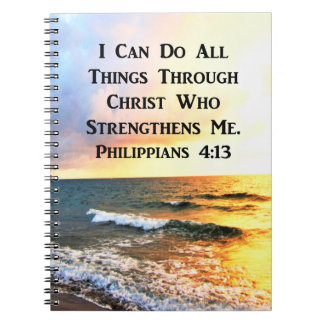 CADERNOS ESPIRAL FOTO BONITA DA ESCRITURA DO 4:13 DOS PHILIPPIANS