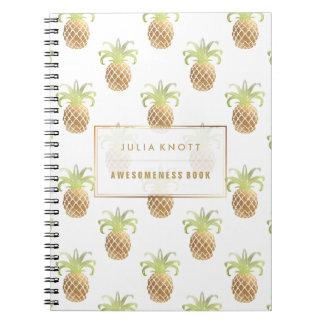 Cadernos Espiral Fundo do ouro Pineapples/DIY do falso de