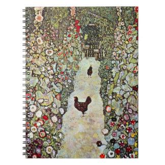 Cadernos Espiral Galinhas de w do trajeto do jardim, Gustavo Klimt,