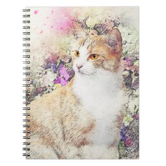 Cadernos Espiral Gatinho e flores