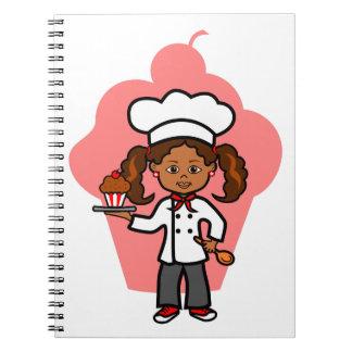 Cadernos Espiral Ilustração fêmea do cozinheiro chefe