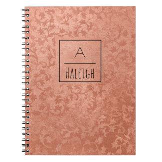 Cadernos Espiral O falso cor-de-rosa do ouro gravou o monograma