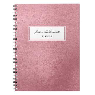 Cadernos Espiral Ouro cor-de-rosa do falso moderno
