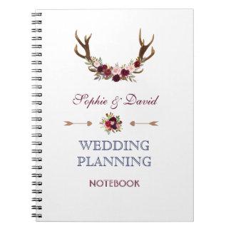 Cadernos Espiral Planejador floral do casamento do marinho dos