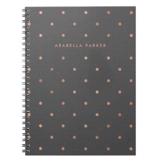 Cadernos Espiral Pontos cor-de-rosa do olhar do ouro do falso em