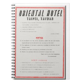 Cadernos Espiral Regras orientais do hotel