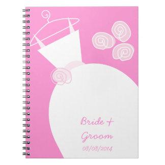 Cadernos Espiral Rosa do vestido de casamento 'nupcial e Groom