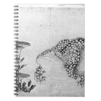 Cadernos Espiral Sapo e flores - japonês (período de Edo)