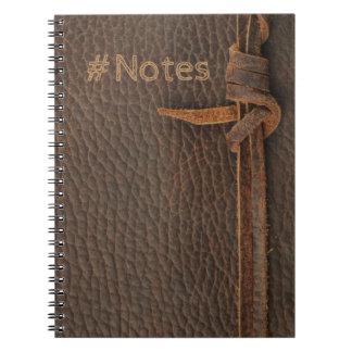 Cadernos Espiral Textura de couro do falso com corda atada -