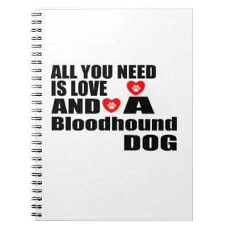 Cadernos Espiral Tudo você precisa o design dos cães do Bloodhound