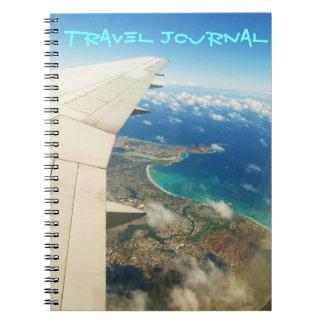 Cadernos Espiral Vista aérea sobre o jornal do viagem das ilhas