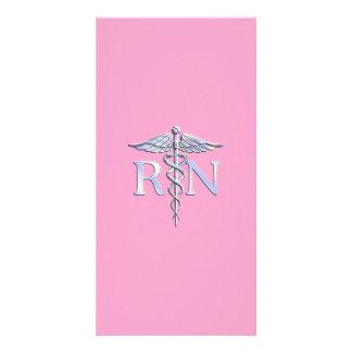 Caduceus do RN da enfermeira diplomada na luz - Cartão Com Foto Personalizado