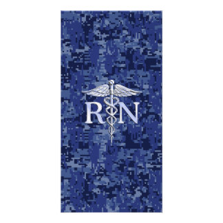 Caduceus do RN da enfermeira diplomada no marinho Cartão Com Foto Personalizado