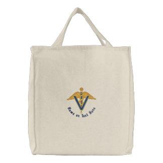Caduceus veterinário - personalize bolsa bordada