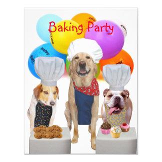 Cães engraçados customizáveis que cozem o convite