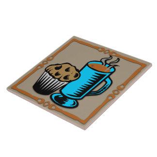 Café com o azulejo/Trivet do design do muffin Azulejo Quadrado Grande