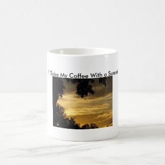Café com um por do sol caneca