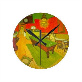 Café da noite de Van Gogh, belas artes do vintage Relógios Para Paredes