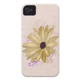 Caixa amarela de Blackberry da flor do vintage Capinhas iPhone 4