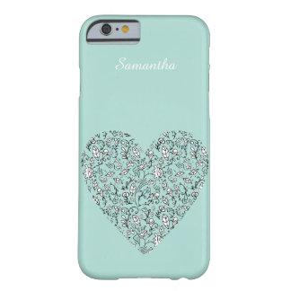 Caixa azul do iPhone 6 do coração do amor da flor Capa Barely There Para iPhone 6