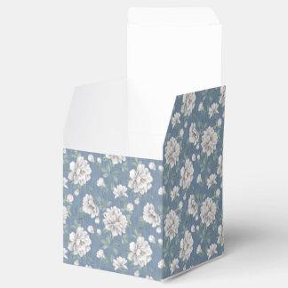 Caixa azul escuro do favor do teste padrão de flor